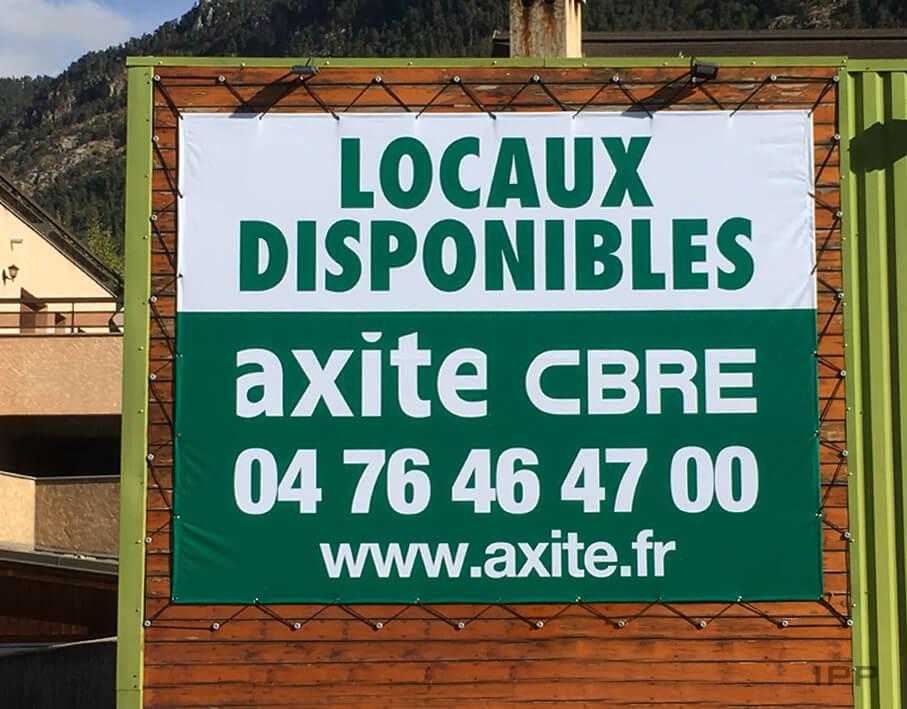 Marketing immobilier bâche AXITE-CBRE vue détaillée