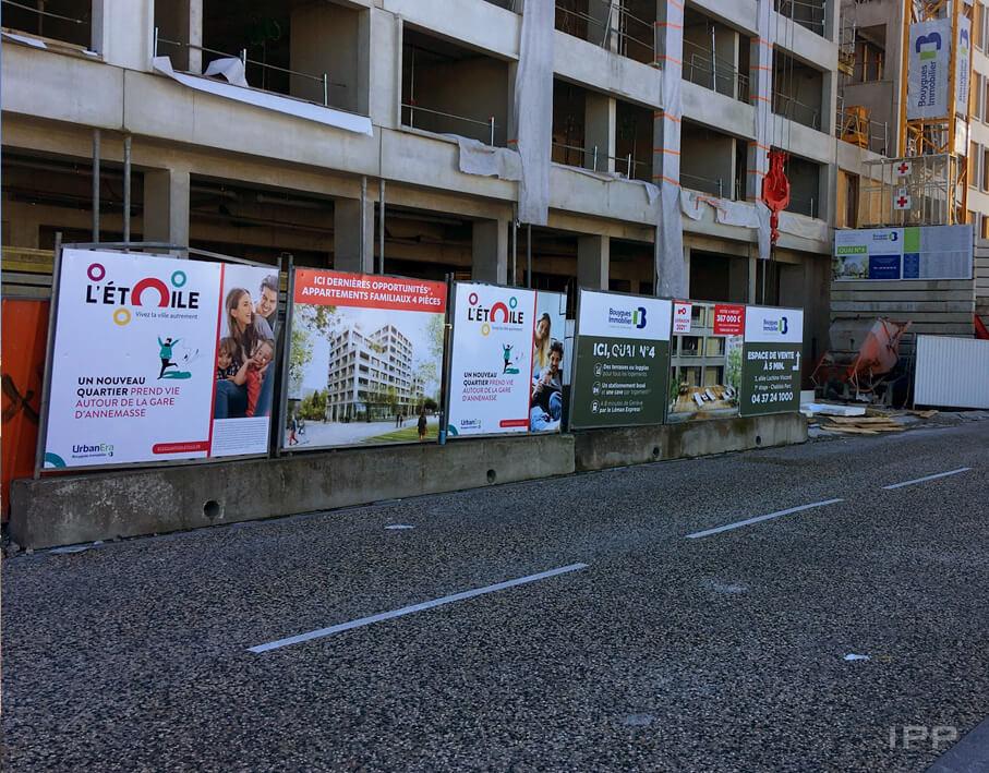 Marketing immobilier sur palissade Bouygues Immobilier vue d'ensemble