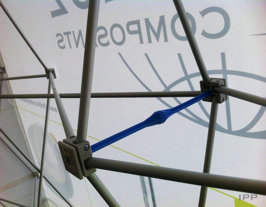 Événementiel stand parapluie Chabloz Composants vue détaillée de la structure