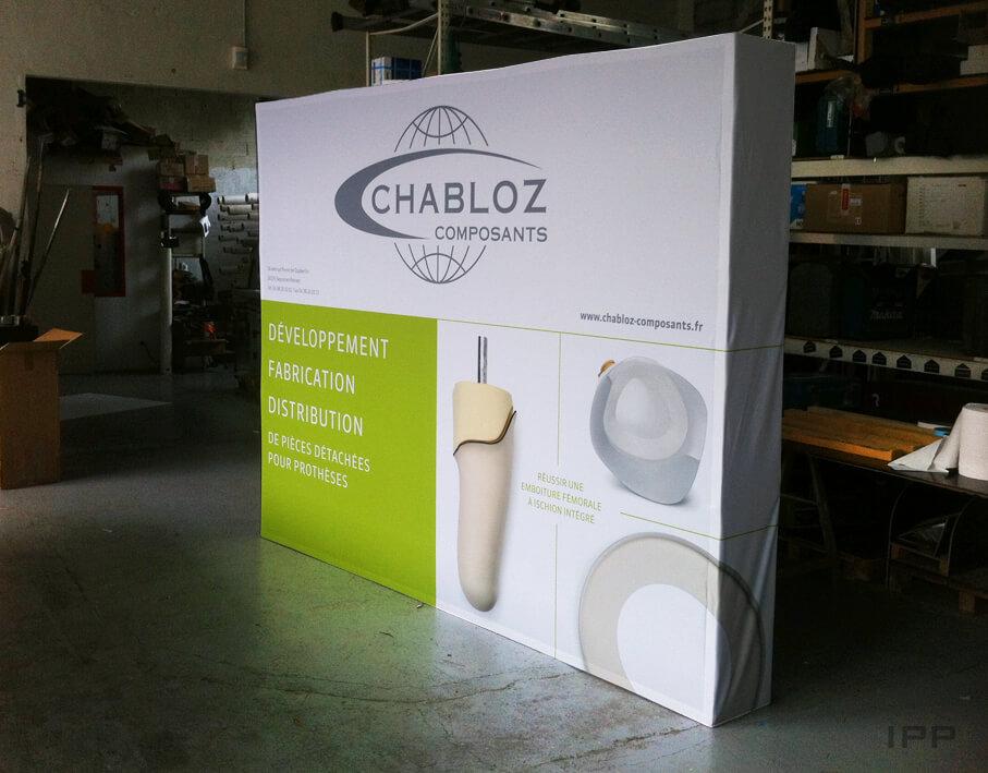 Événementiel stand parapluie Chabloz Composants vue d'ensemble