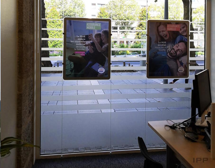 Signalétique de confidentialité MAE Nantes vue détaillée depuis l'intérieur