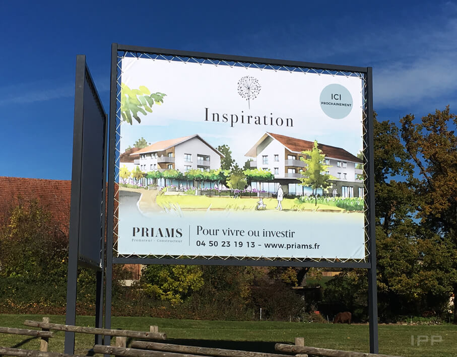 Marketing immobilier bâche Priams vue d'ensemble