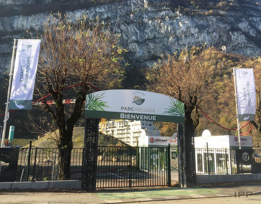 Marketing immobilier signalétique Gilles Trignat vue d'ensemble de l'arche