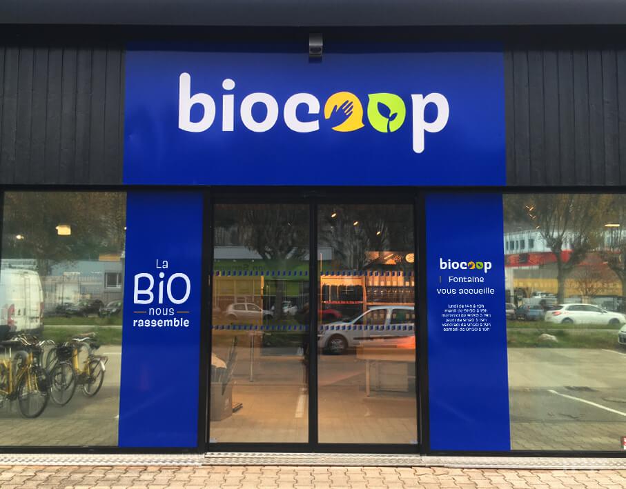 Enseigne bandeau Biocoop vue d'ensemble