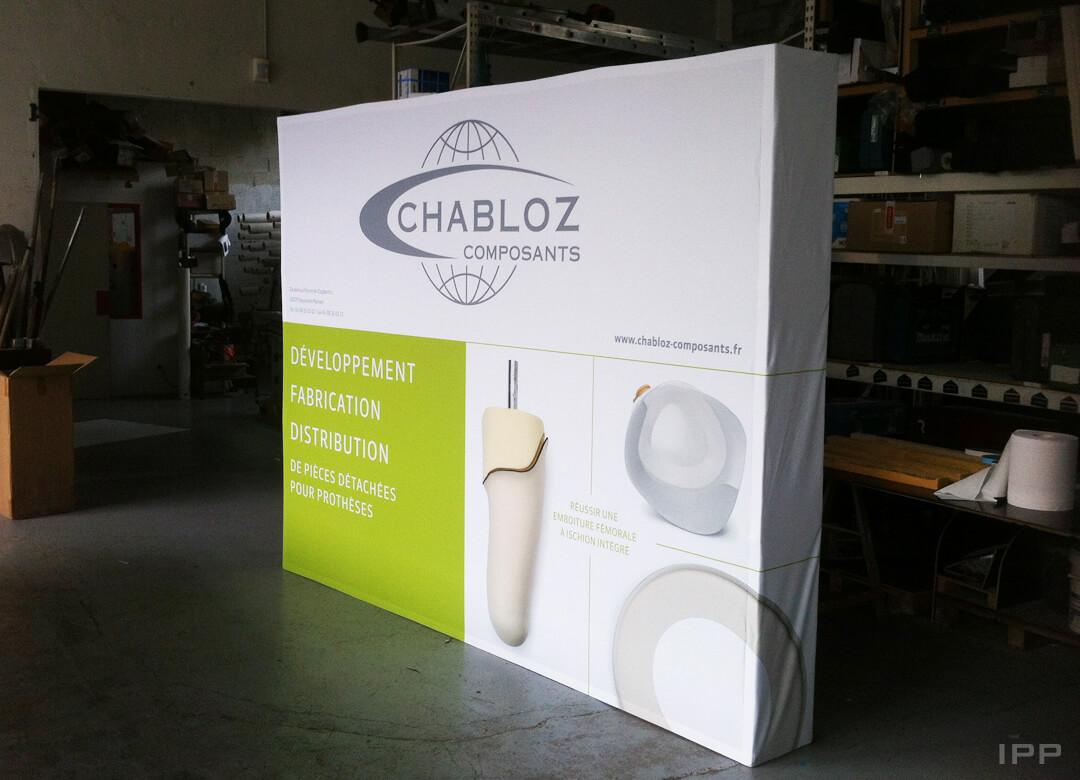 Solution d'exposition en toile tendue pour CHABLOZ COMPOSANTS